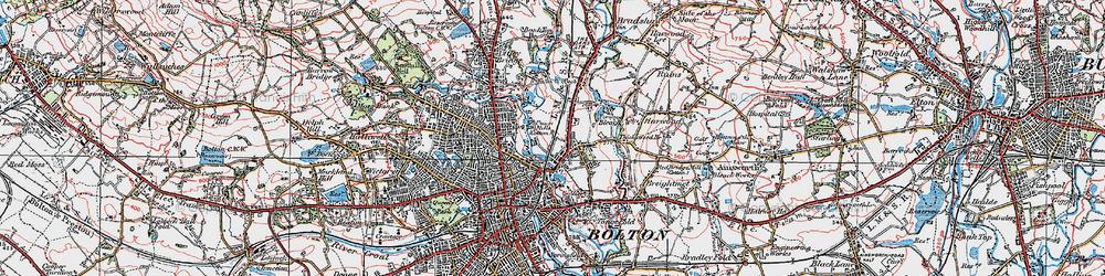 Old map of Tonge Moor in 1924