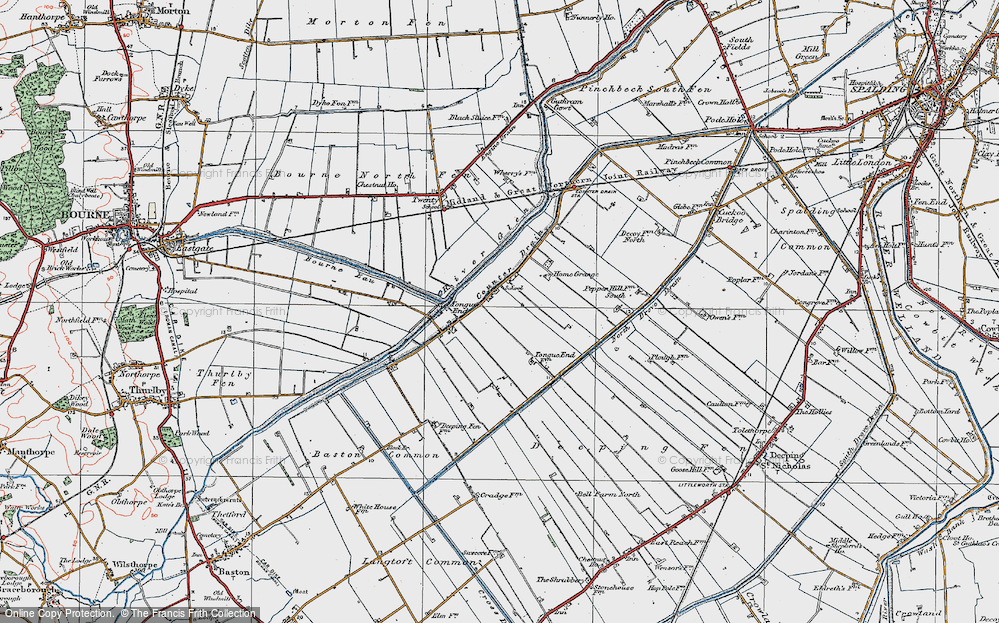 Old Map of Tongue End, 1922 in 1922