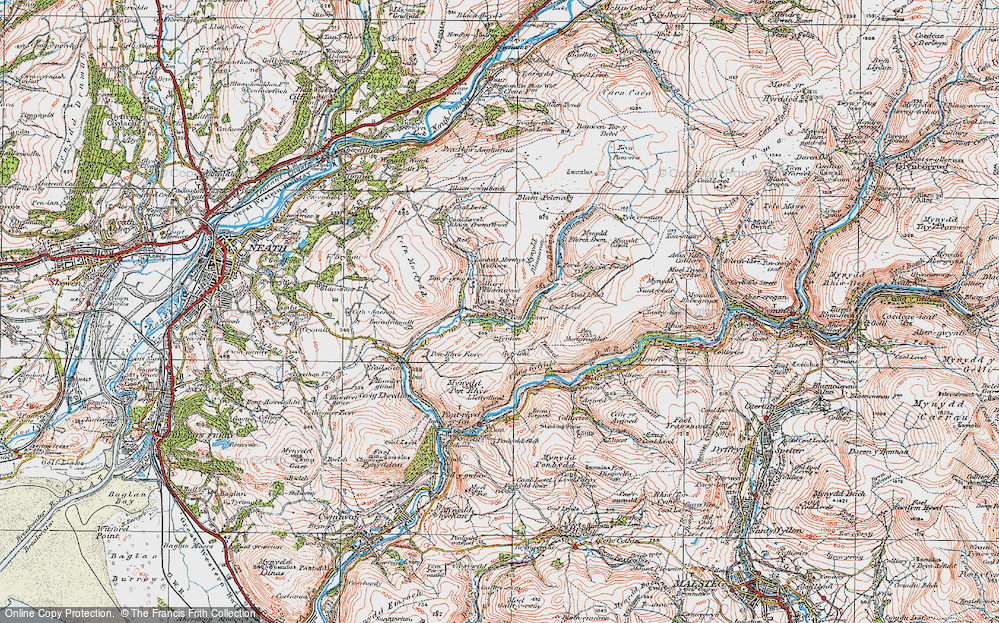 Old Map of Historic Map covering Afon Pelenna in 1923