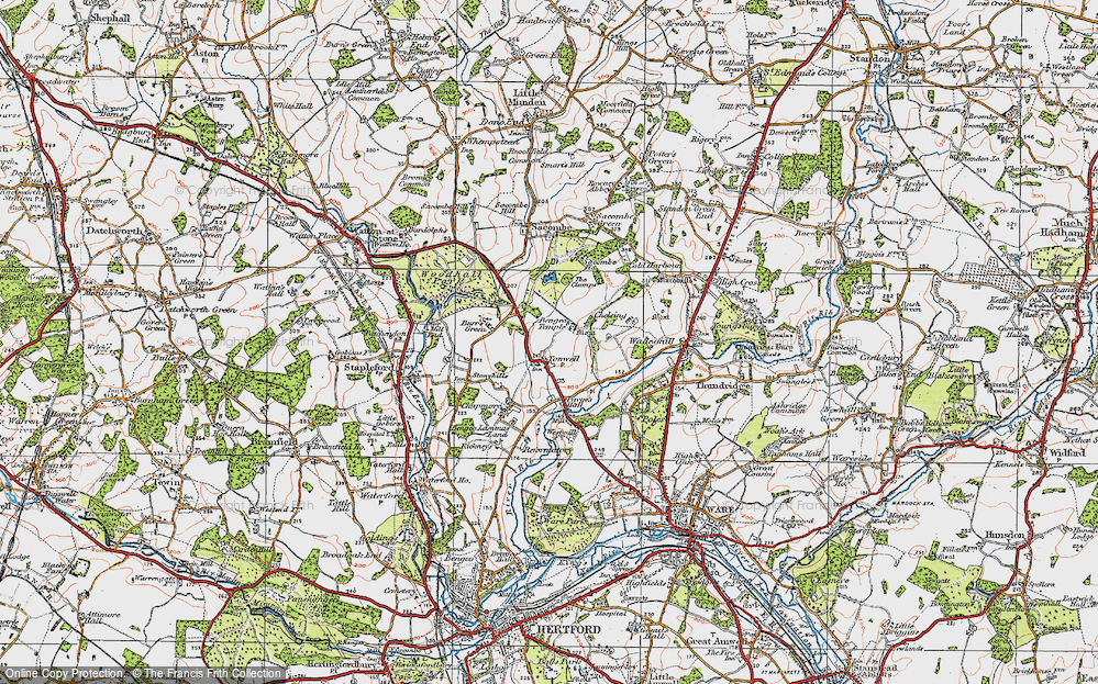 Old Map of Tonwell, 1919 in 1919
