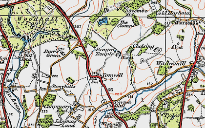Old map of Tonwell in 1919