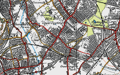 Old map of Tooting in 1920