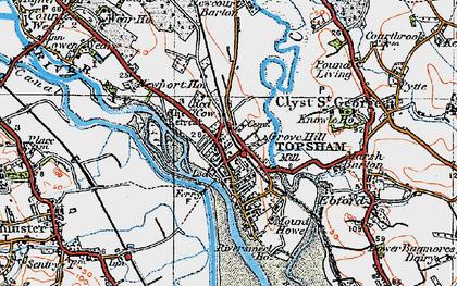 Old map of Topsham in 1919