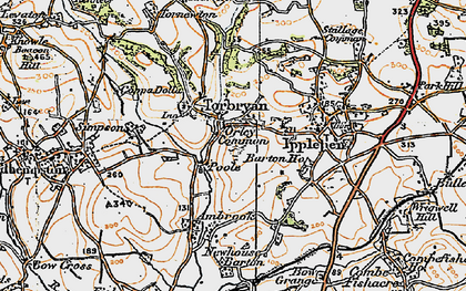 Old map of Torbryan in 1919