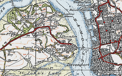 Old map of Torpoint in 1919
