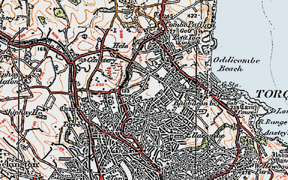 Old map of Torquay in 1919