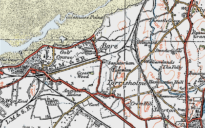 Old map of Torrisholme in 1924