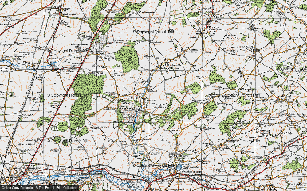 Old Map of Historic Map covering Abbotstone Down in 1919
