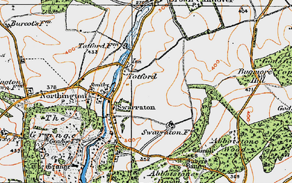 Old map of Abbotstone Down in 1919