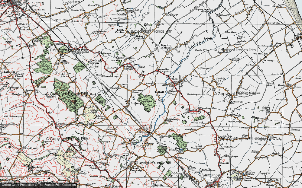 Old Map of Historic Map covering Toot Hill in 1923