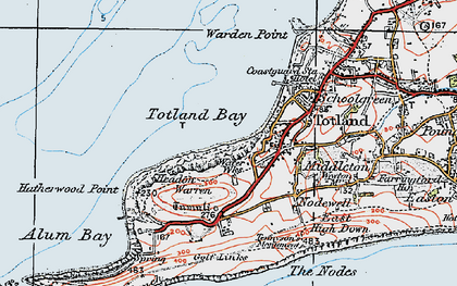 Old map of Totland Bay in 1919
