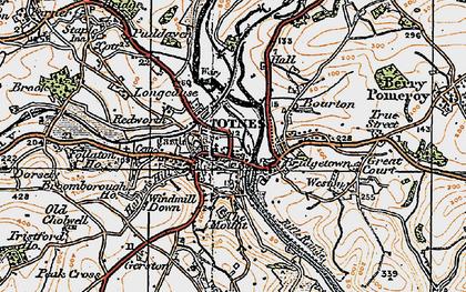 Old map of Totnes in 1919