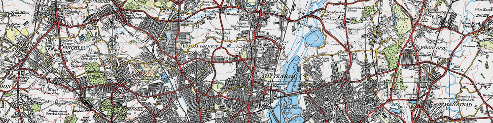 Old map of Tottenham in 1920