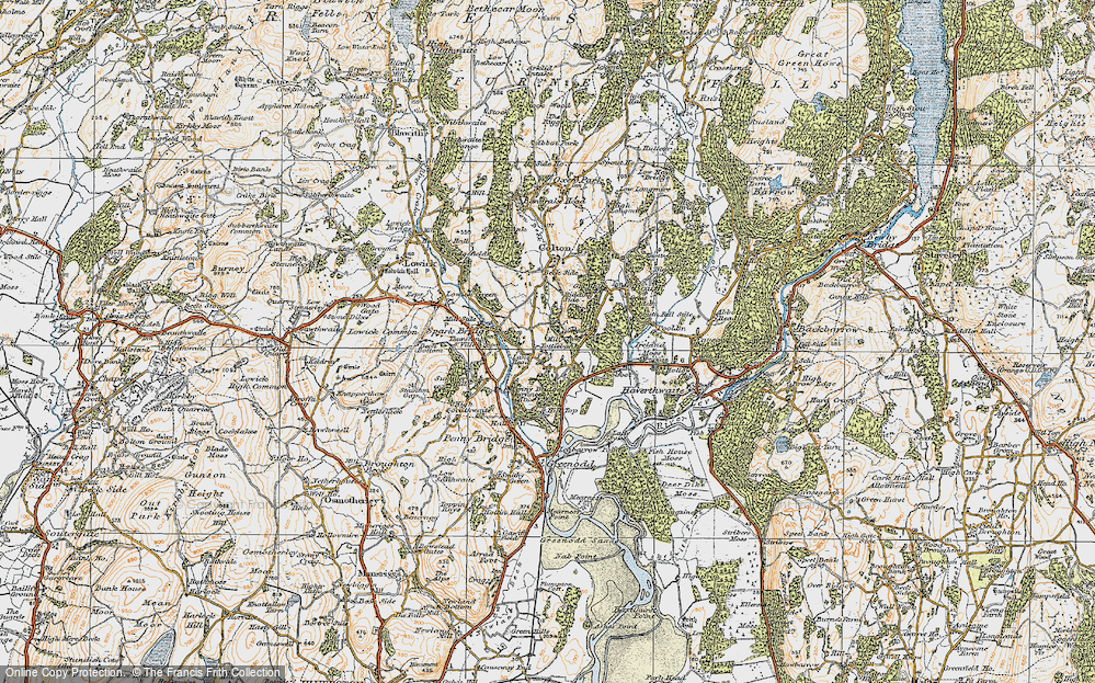 Old Map of Historic Map covering Lane Head in 1925