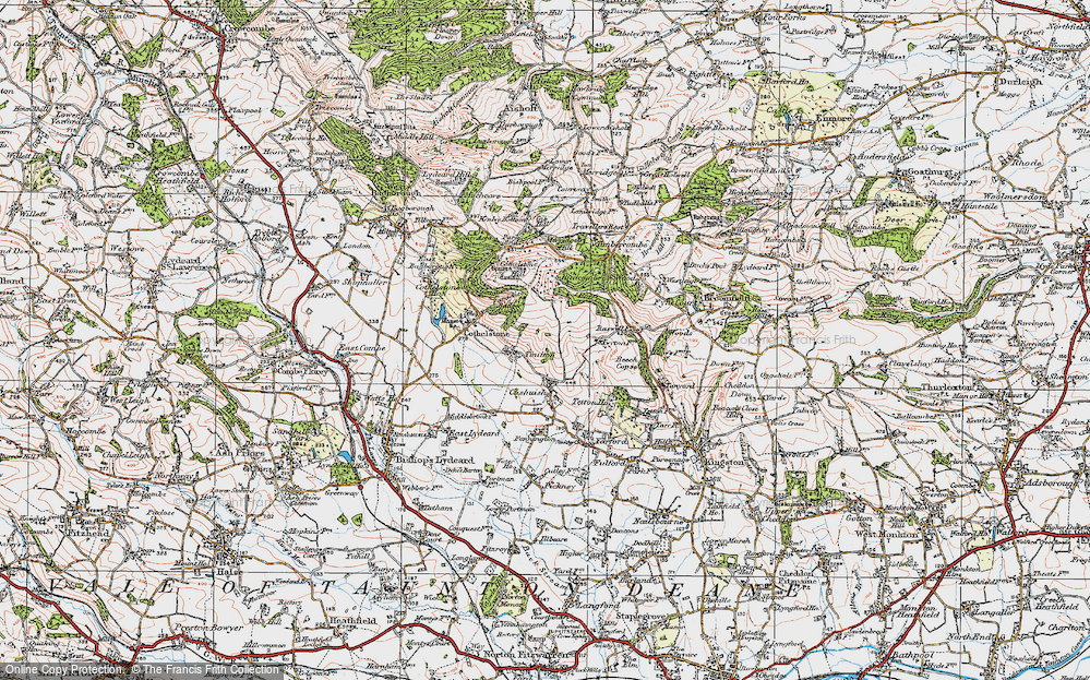 Old Map of Historic Map covering Badger Copse in 1919