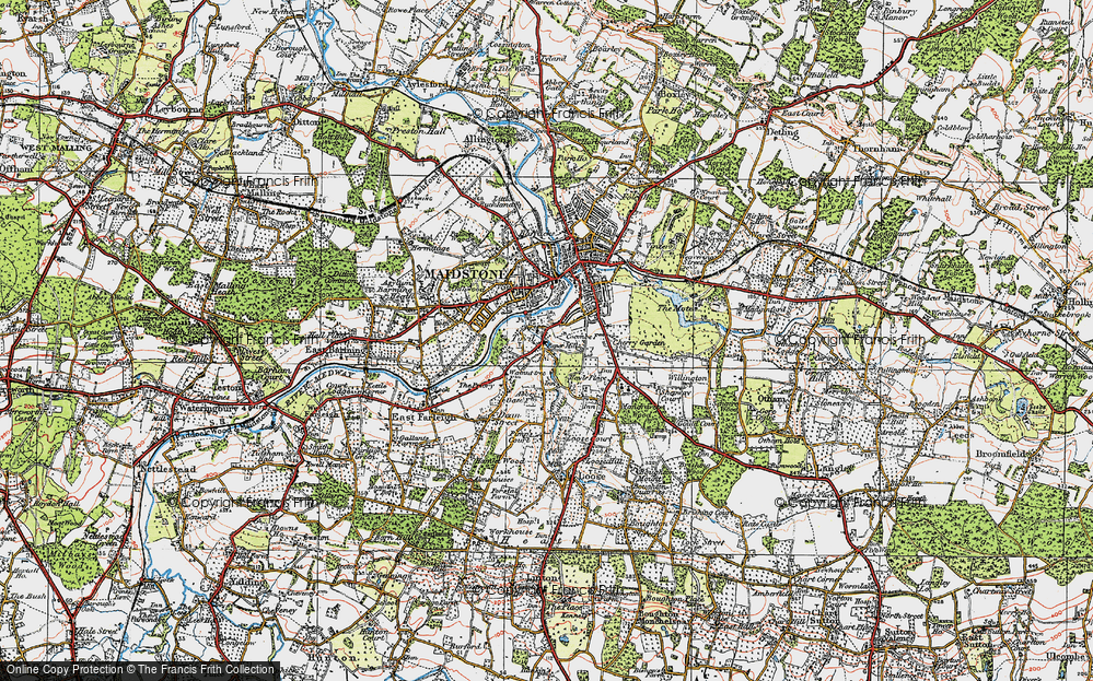 Old Map of Historic Map covering Abbey Gate Place in 1921