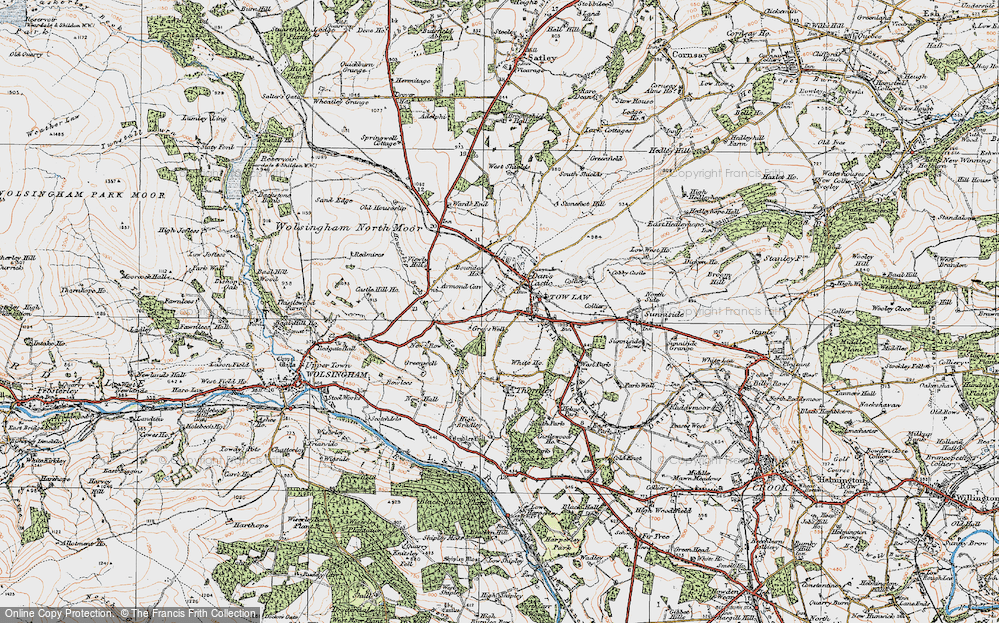 Old Map of Tow Law, 1925 in 1925