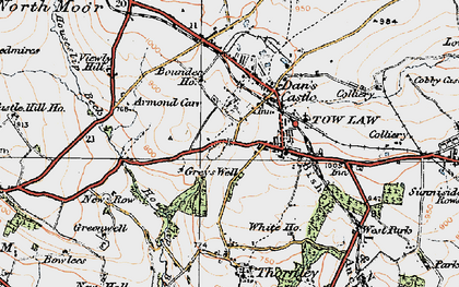 Old map of Tow Law in 1925