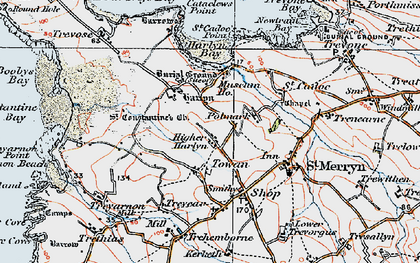 Old map of Towan in 1919