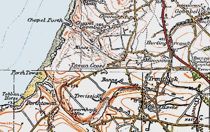 Old map of Towan Cross in 1919
