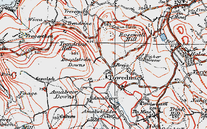 Old map of Towednack in 1919