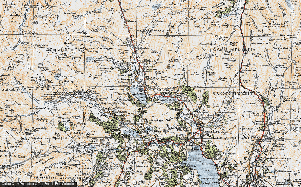 Old Map of Historic Map covering Alcock Tarn in 1925