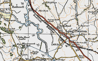 Old map of Tommy Hall's Barn in 1924