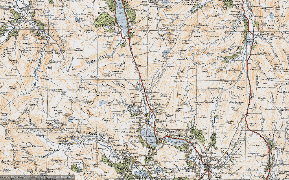 Old Map of Historic Map covering Tongue Gill in 1925