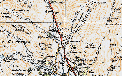 Old map of Tongue Gill in 1925