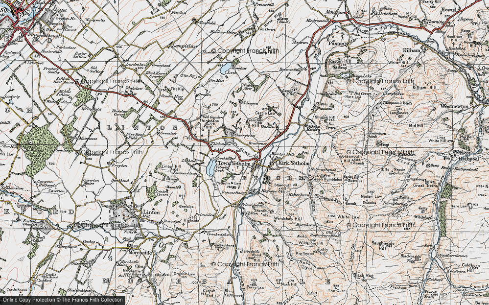 Old Map of Historic Map covering Linton Hill in 1926