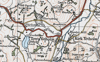 Old map of Yetholm Loch in 1926