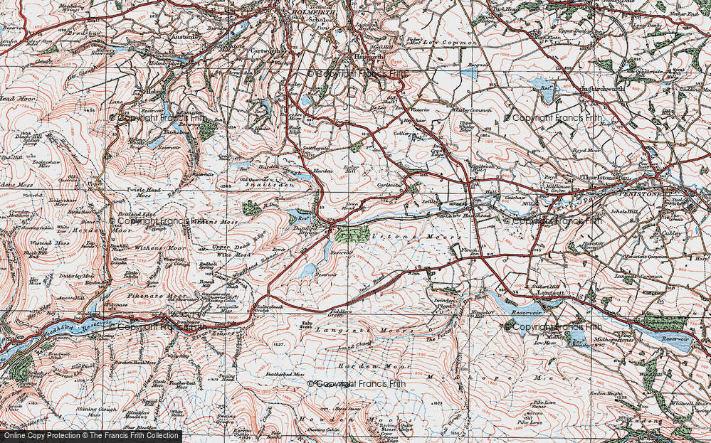 Old Map of Historic Map covering Laund Clough in 1924