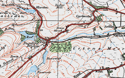 Old map of Wogden Clough in 1924