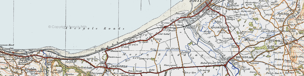Old map of Towyn in 1922