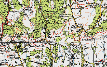 Old map of Toy's Hill in 1920