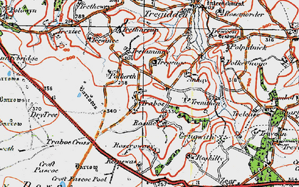 Old map of Traboe in 1919