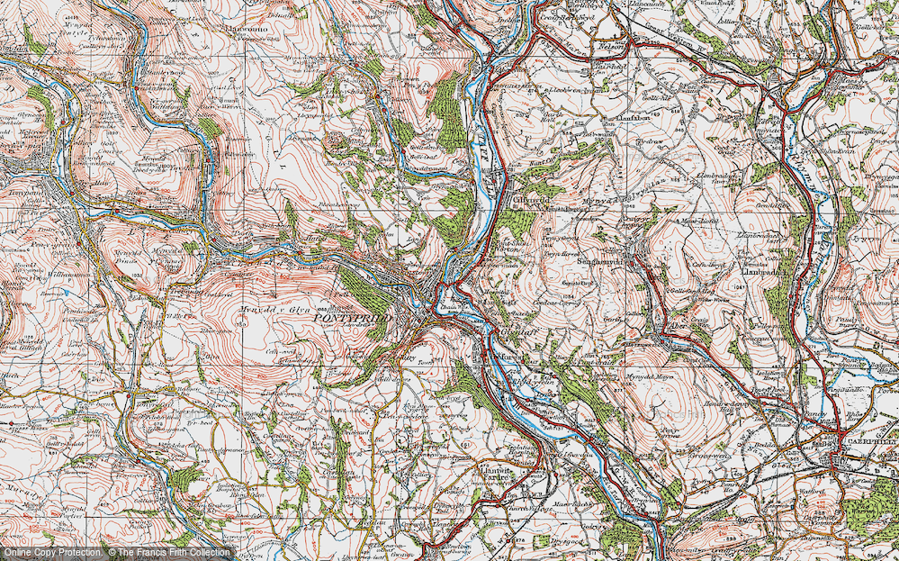 Old Map of Historic Map covering Y Carreg Siglo in 1922
