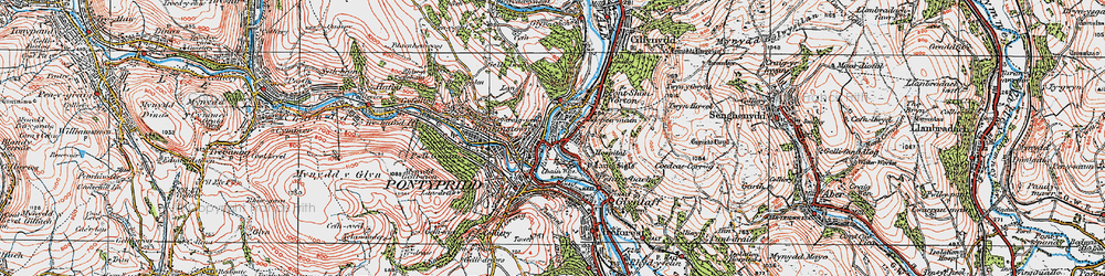 Old map of Y Carreg Siglo in 1922