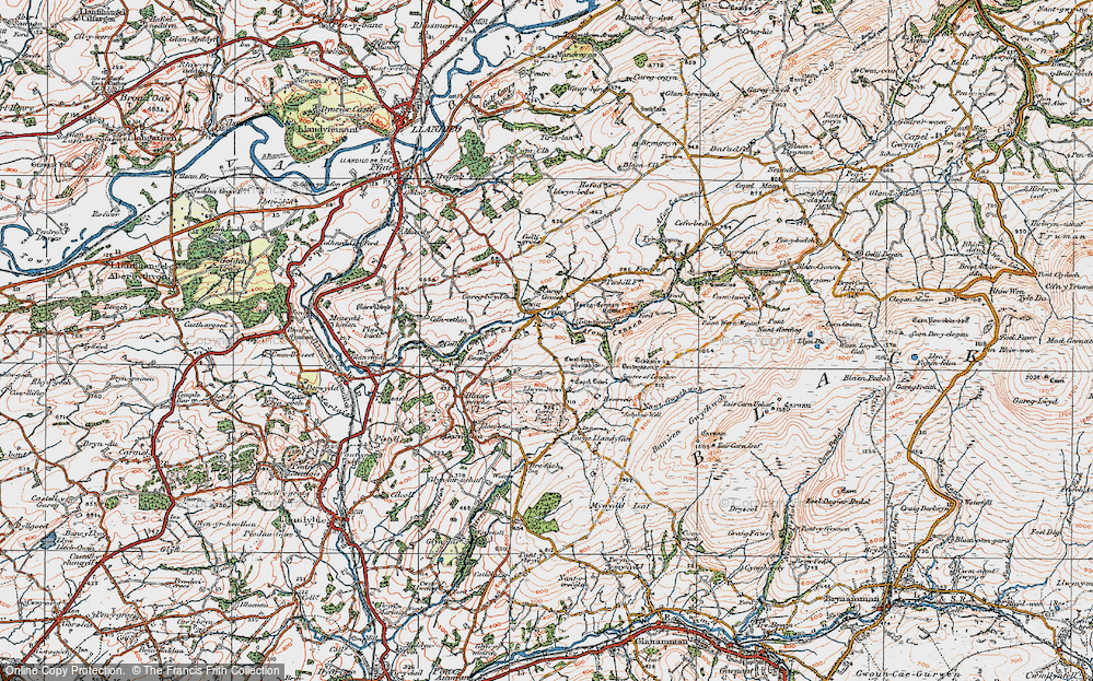 Old Map of Historic Map covering Afon Cennen in 1923