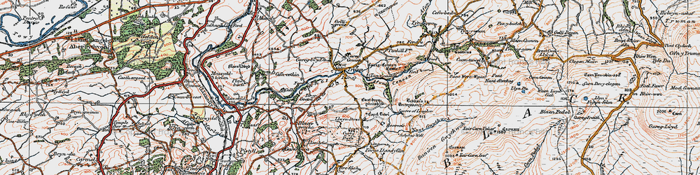 Old map of Afon Cennen in 1923