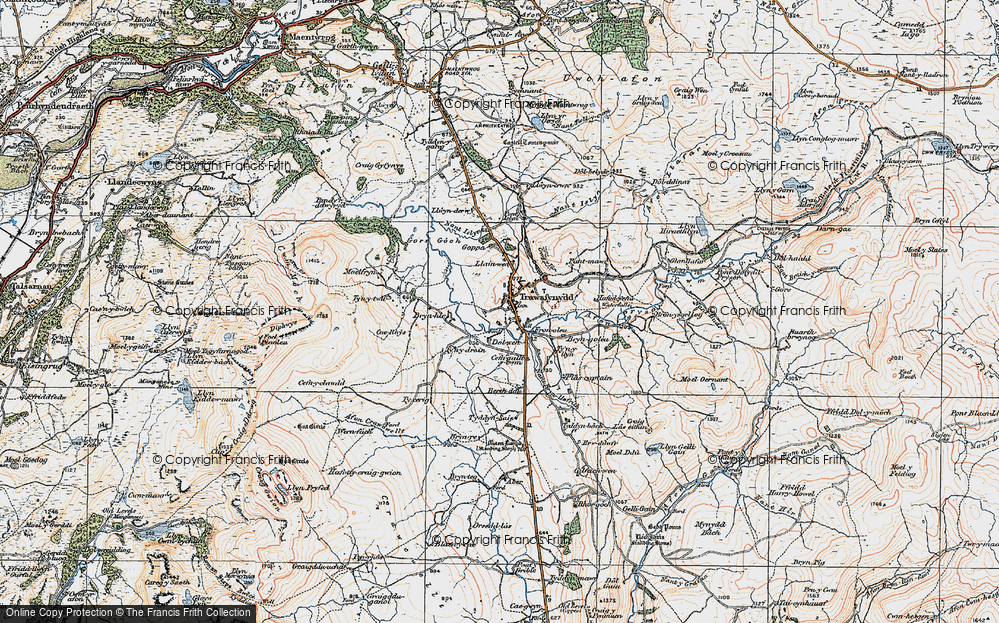 Old Map of Historic Map covering Afon Prysor in 1922