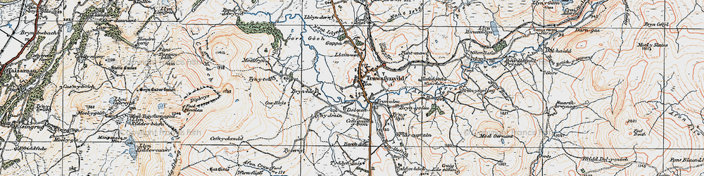 Old map of Afon Crawcwellt in 1922