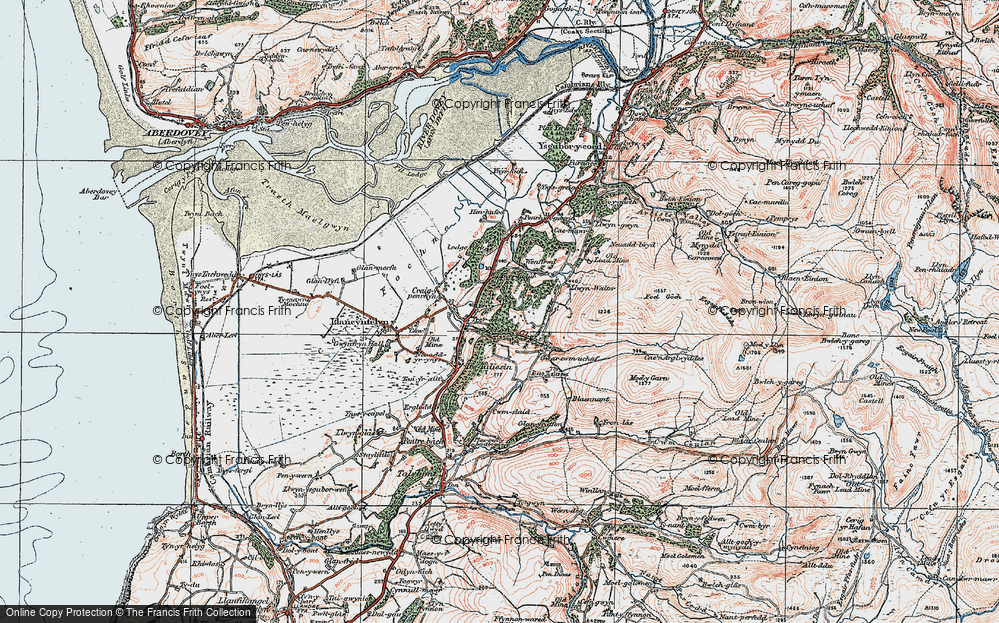 Old Map of Historic Map covering Afon Cetwr in 1922