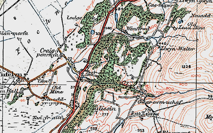 Old map of Afon Cetwr in 1922