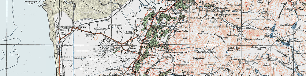 Old map of Ynystudor in 1922