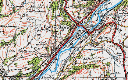 Old map of Trebanos in 1923