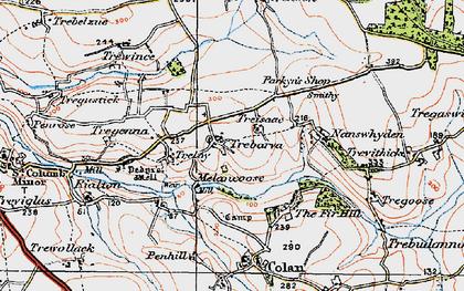 Old map of Trebarber in 1919
