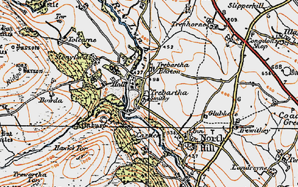 Old map of Trebartha in 1919