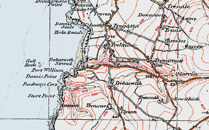 Old map of Trebarwith in 1919
