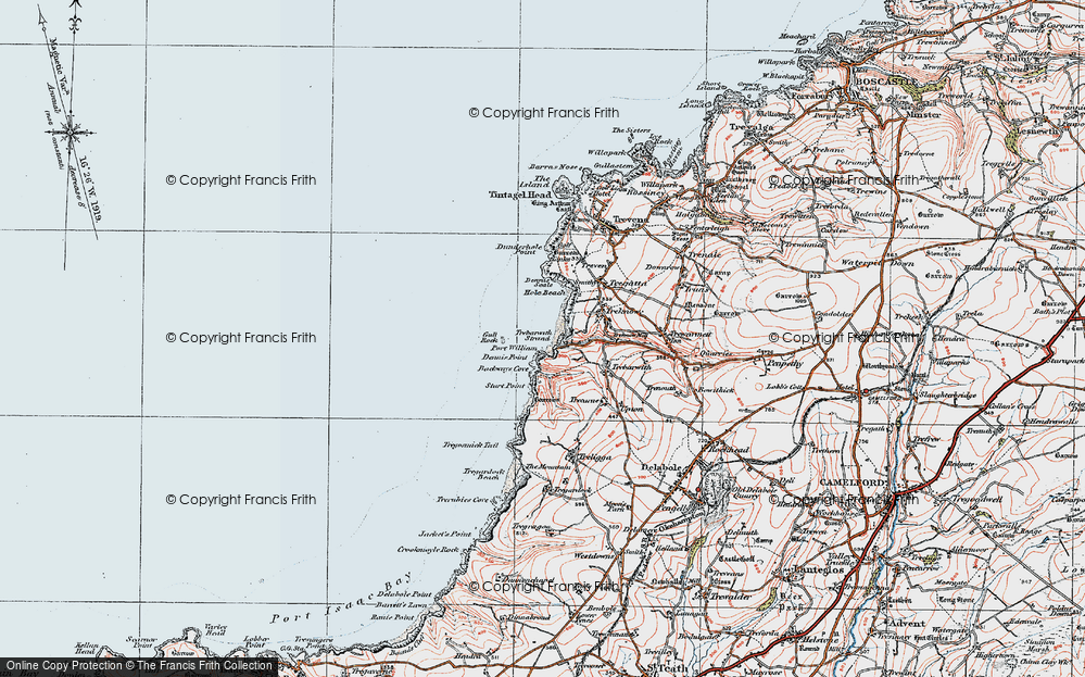 Old Map of Historic Map covering Backways Cove in 1919